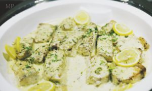 Grilled Hammour with Caper Butter Sauce